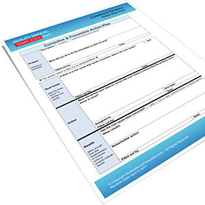 Corrective & Preventive Action Plan Form
